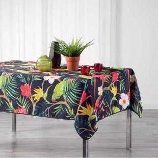 Fialový obrus na stôl s tropickým motívom
