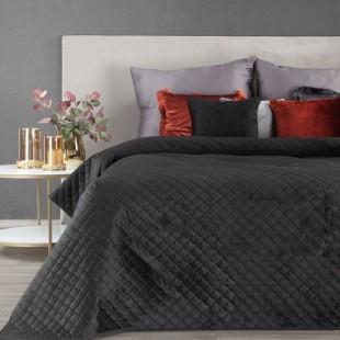 Čierny zamatový prehoz na posteľ s polkruhmi