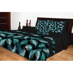 Čierny prešívaný prehoz na posteľ s tyrkysovými pierkami