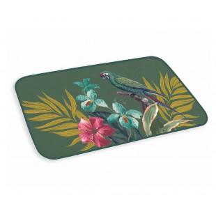 Zelený kúpeľňový koberček s tropickým motívom