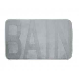 Sivý kúpeľňový koberček s nápisom