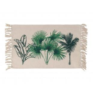 Béžový koberček s rastlinným motívom a strapčekmi