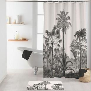 Biely kúpeľňový záves s palmami