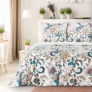 Biela posteľná obliečka s farebným rastlinným motívom