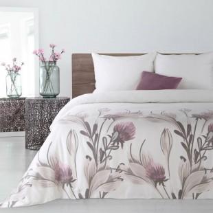 Biela posteľná obliečka s fialovými kvetmi