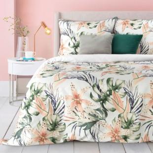 Biela posteľná obliečka s ružovým rastlinným motívom