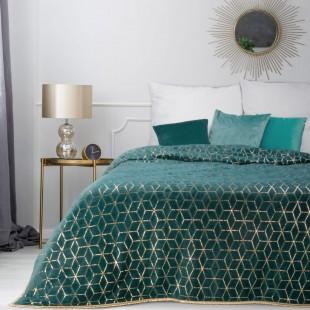Tyrkysový dekoračný prehoz na posteľ s geometrickým vzorom