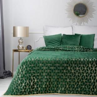 Zelený dekoračný prehoz na posteľ s geometrickým vzorom