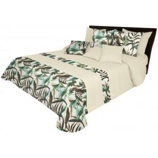 Krémový dekoračný prehoz na posteľ so zeleným rastlinným motívom