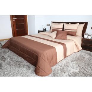 Hnedo-béžový pruhovaný prešívaný prehoz na posteľ