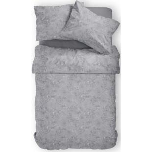 Tmavosivá posteľná obliečka s rastlinným motívom