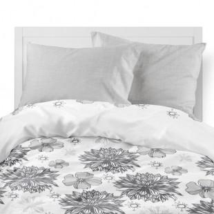 Sivá posteľná obliečka s kvetinovým motívom