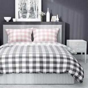 Sivá kockovaná posteľná obliečka s ružovými obliečkami na vankúš