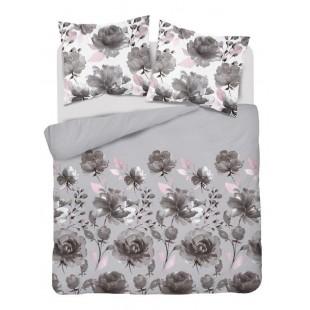 Sivá posteľná obliečka zo saténovej bavlny s kvetinovým motívom