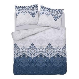 Modro-sivá posteľná obliečka s geometrickým motívom