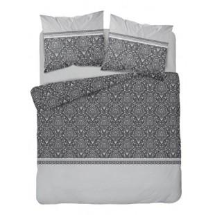 Sivá vzorovaná posteľná obliečka z bavlneného saténu