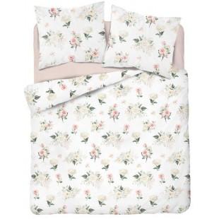 Biela posteľná obliečka s krásnym ružičkovým motívom
