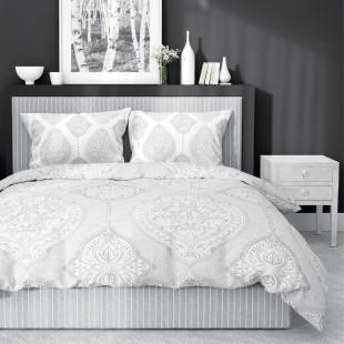 Vzorovaná posteľná obliečka v sivej farbe