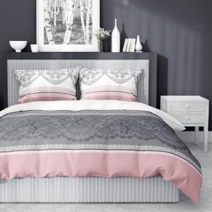 Sivo-ružová posteľná obliečka so vzormi