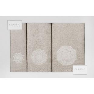 Sada 3 ručníkov v béžovej farbe s geometrickým vzorom