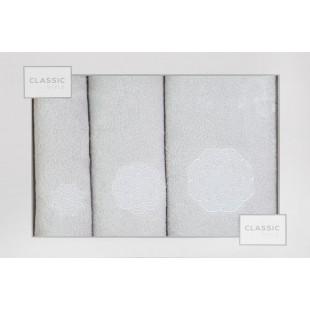Sada 3 svetlosivých ručníkov so vzorom