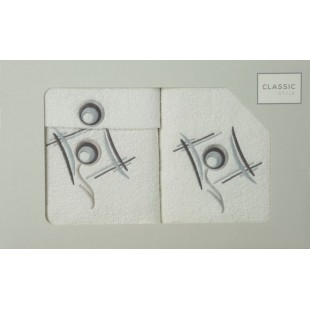 Sada 3 bielych ručníkov so vzorom