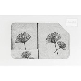 Sada 3 svetlosivých ručníkov s rastlinným motívom