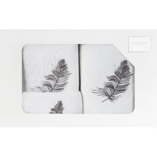 Sada 3 ručníkov v bielej farbe s motívom pierok