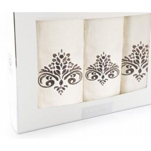 Sada 3 krémových ručníkov s hnedým vzorom