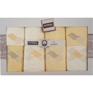 Sada 6 krémovo-béžových ručníkov s motívom