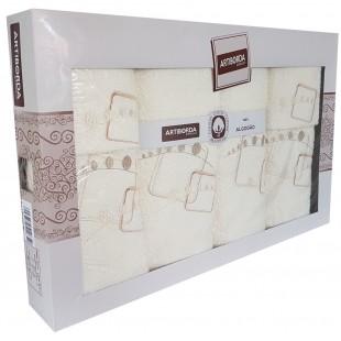 Sada 6 krémových vzorovaných ručníkov