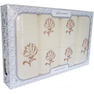 Sada 6 krémových ručníkov s rastlinným motívom