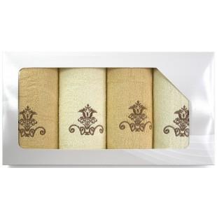 Sada 4 karamelovo-krémových ručníkov s motívom
