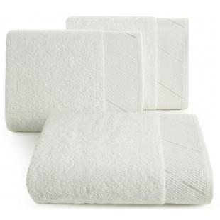 Krémový jednofarebný kúpeľňový ručník s ozdobným pásom