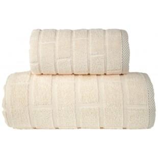 Krémový jednofarebný prešívaný kúpeľňový ručník