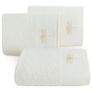 Krémový jednofarebný ručník s motívom zlatej vážky