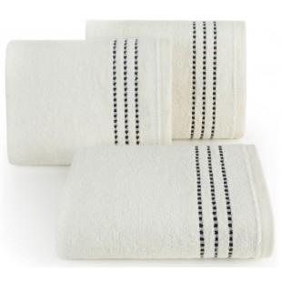 Krémový bavlnený ručník s čiernymi pásikmi