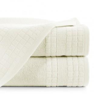 Krémový jednofarebný ručník s kockovaným vzorom