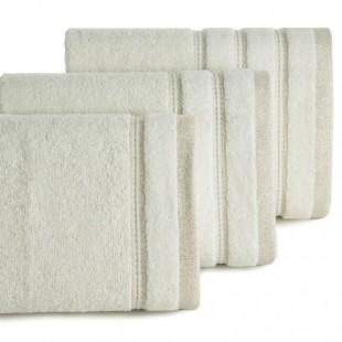 Krémový jednofarebný kúpeľňový ručník s pásom