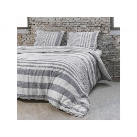 Holandské pruhované posteľné obliečky sivej farby