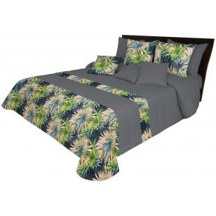 Tmavosivý prehoz na posteľ s farebným rastlinným motívom