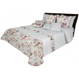 Svetlosivý prehoz na posteľ s ružovými kvietočkami