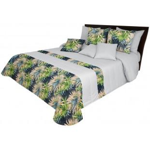 Svetlosivý dekoračný prehoz na posteľ s farebným rastlinným motívom