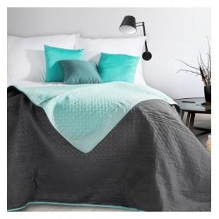 Moderný tmavosivo mentolový prehoz na posteľ so vzorovaným prešívaním