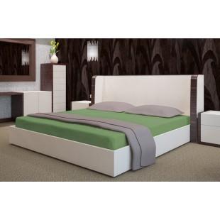 Zelené jednofarebné froté posteľné prestieradlo s gumičkou