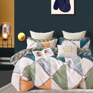 Sivo-oranžovo-zelená vzorovaná obojstranná posteľná obliečka