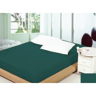 Tmavotyrkysové bavlnené prestieradlo na posteľ s gumičkou