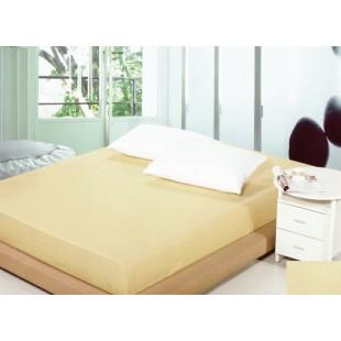 Béžové bavlnené prestieradlo na posteľ s gumičkou
