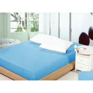 Modré bavlnené prestieradlo na posteľ s gumičkou