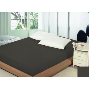 Tmavosivé bavlnené prestieradlo na posteľ s gumičkou